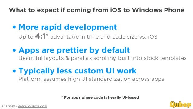 What to expect if coming from iOS to Windows Phone     • More rapid development         Up to 4:1* advantage in time and c...
