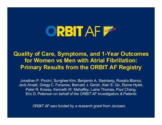 Quality of Care, Symptoms, and 1-Year Outcomes   for Women vs Men with Atrial Fibrillation:  Primary Results from the ORBI...