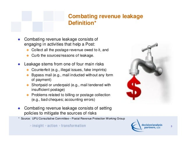 Combating revenue leakage                                    Definition*    Combating revenue leakage consists of    engag...