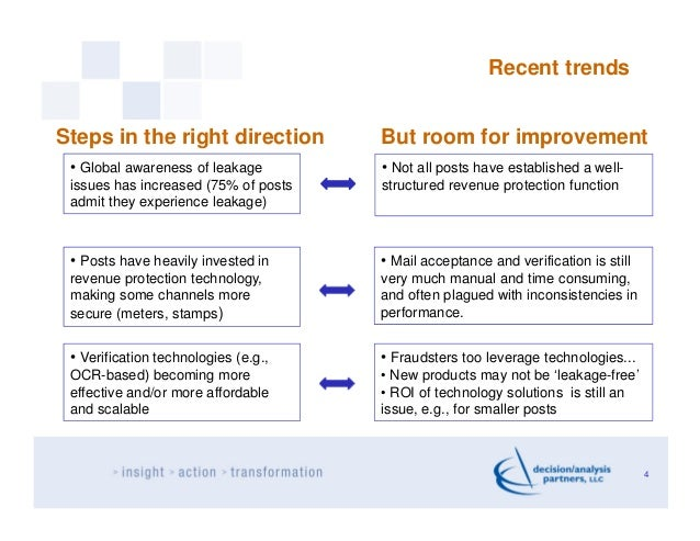 Recent trendsSteps in the right direction          But room for improvement • Global awareness of leakage        • Not all...
