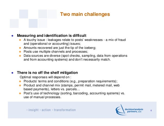 Two main challengesMeasuring and identification is difficult   A touchy issue : leakages relate to posts' weaknesses - a m...