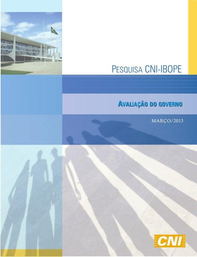 AVALIAÇÃO DO GOVERNO          MARÇO/2013