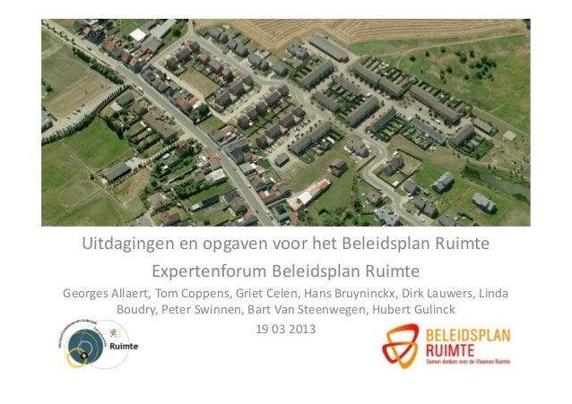 Uitdagingen en opgaven voor het Beleidsplan Ruimte            Expertenforum Beleidsplan RuimteGeorges Allaert, Tom Coppens...