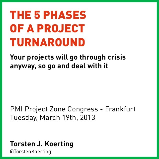 THE 5 PHASESOF A PROJECTTURNAROUNDYour projects will go through crisisanyway, so go and deal with itPMI Project Zone Congr...