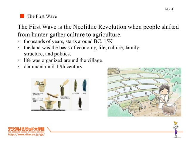 No.4■ The First WaveThe First Wave is the Neolithic Revolution when people shiftedfrom hunter-gather culture to agricultur...