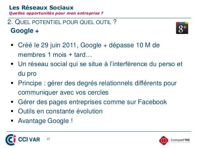 2. QUEL POTENTIEL POUR QUEL OUTIL ?Les Réseaux SociauxQuelles opportunités pour mon entreprise ?Google + Créé le 29 juin ...