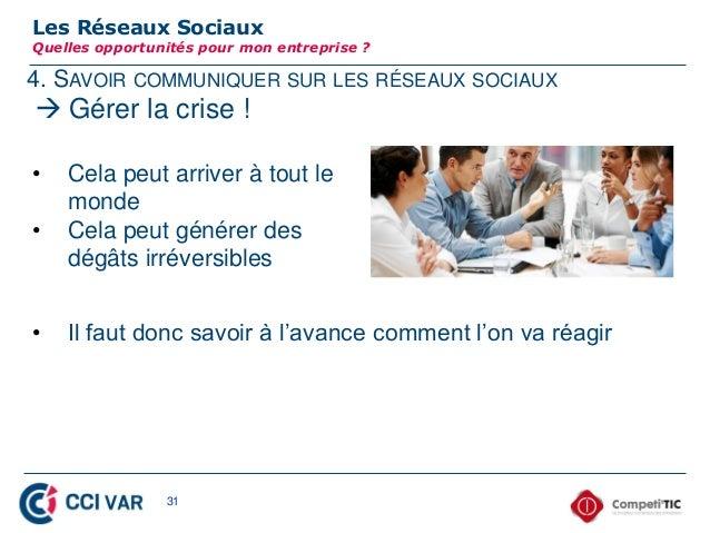 4. SAVOIR COMMUNIQUER SUR LES RÉSEAUX SOCIAUXLes Réseaux SociauxQuelles opportunités pour mon entreprise ? Gérer la crise...
