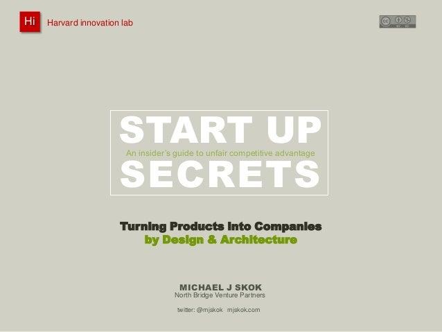 Harvard innovation lab :       Michael J Skok :           Startup Secrets :   Product to Company HiHi    Harvard innovatio...