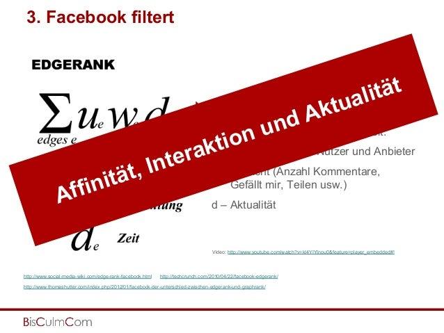3. Facebook filtert } Der EdgeRank kein globaler Wert für eine Seite, sondern wird für jedes einzelne Inhaltsobjekt pro ...