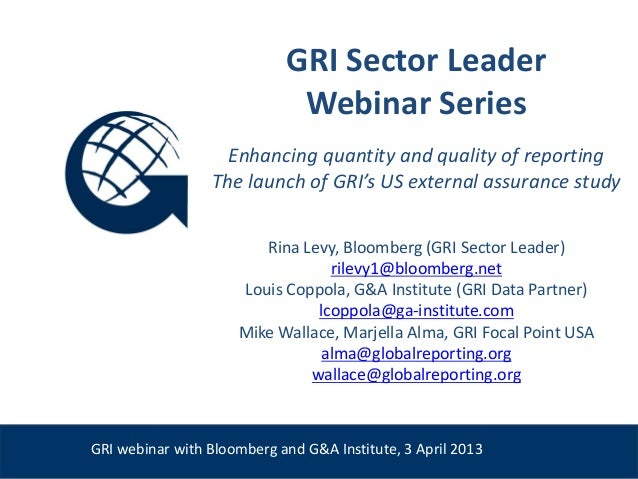 GRI Sector Leader                                 Webinar Series                       Enhancing quantity and quality of r...