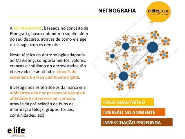 NETNOGRAFIAA NETNOGRAFIA, baseada no conceito daEtnografia, busca entender o sujeito alémdo seu discurso, através de como ...