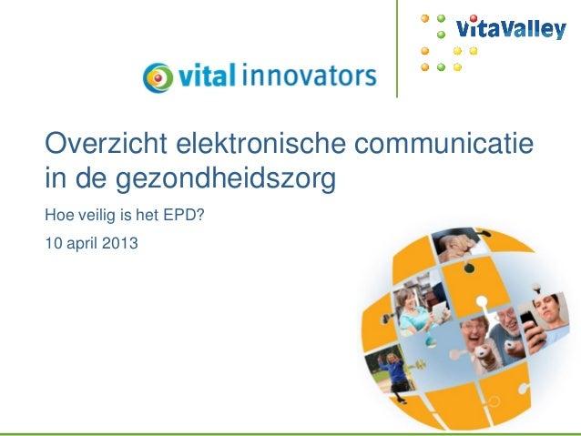 Overzicht elektronische communicatiein de gezondheidszorgHoe veilig is het EPD?10 april 2013