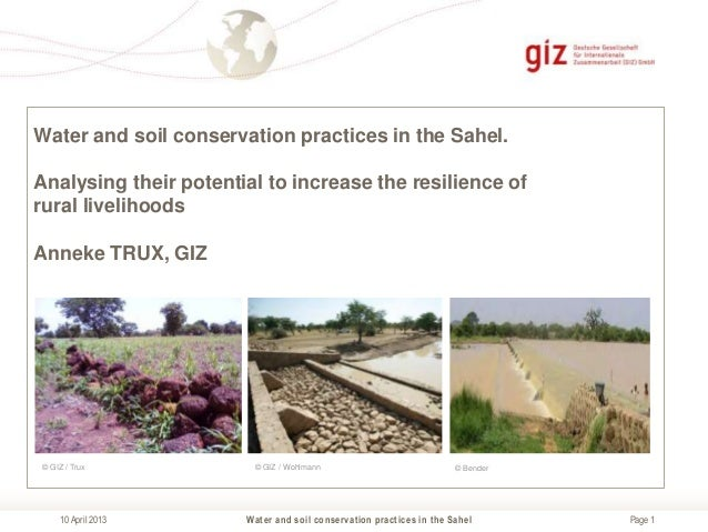 Water and soil conservation practices in the Sahel.Analysing their potential to increase the resilience ofrural livelihood...