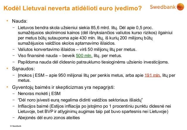 Kodėl Lietuvai neverta atidėlioti euro įvedimo?• Nauda:    – Lietuvos bendra skola užsieniui siekia 85,6 mlrd. litų. Dėl a...