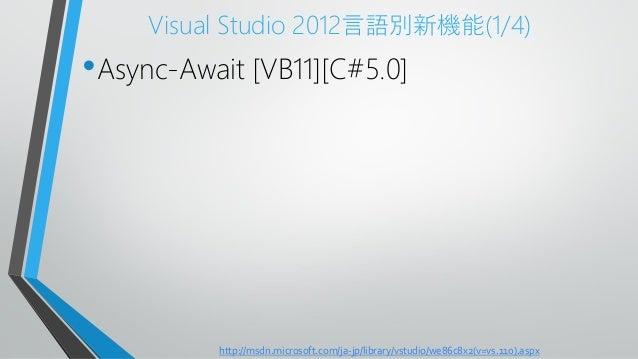 Visual Studio 2012言語別新機能(1/4)•Async-Await [VB11][C#5.0]http://msdn.microsoft.com/ja-jp/library/vstudio/we86c8x2(v=vs.110)....