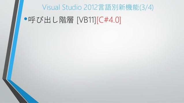 Visual Studio 2012言語別新機能(3/4)•呼び出し階層 [VB11][C#4.0]