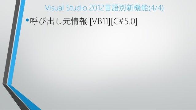 Visual Studio 2012言語別新機能(4/4)•呼び出し元情報 [VB11][C#5.0]