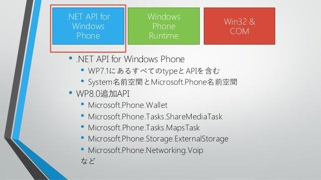 • .NET API for Windows Phone• WP7.1にあるすべてのtypeとAPIを含む• System名前空間とMicrosoft.Phone名前空間• WP8.0追加API• Microsoft.Phone.Wallet•...