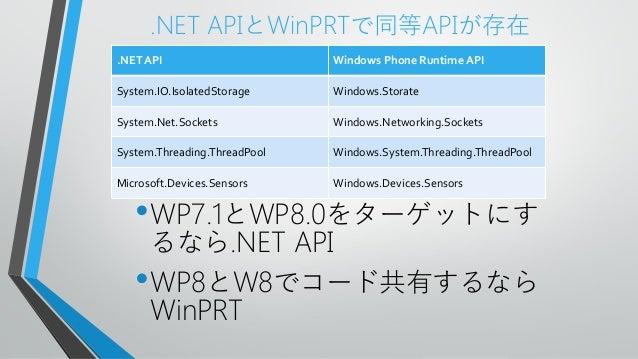 .NET APIとWinPRTで同等APIが存在•WP7.1とWP8.0をターゲットにするなら.NET API•WP8とW8でコード共有するならWinPRT.NET API Windows Phone Runtime APISystem.IO....