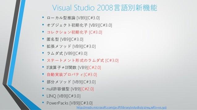 Visual Studio 2008言語別新機能• ローカル型推論 [VB9][C#3.0]• オブジェクト初期化子 [VB9][C#3.0]• コレクション初期化子 [C#3.0]• 匿名型 [VB9][C#3.0]• 拡張メソッド [VB9...