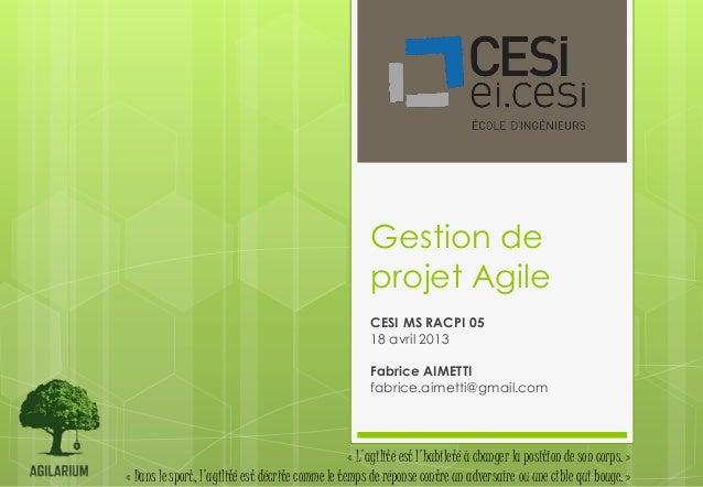Gestion de                                                       projet Agile                                             ...