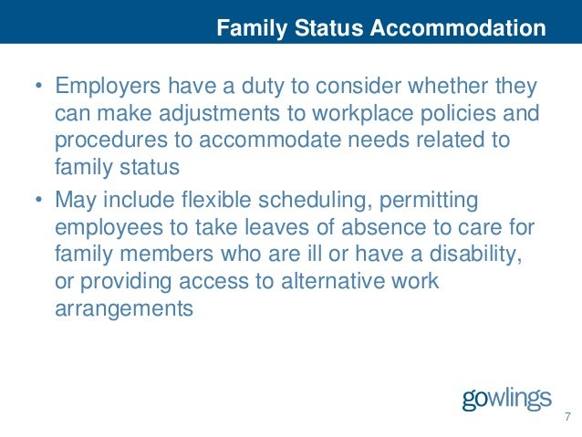 Accommodating family status in the workplace