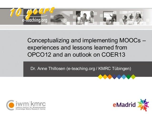 E-Learning an deutschen Hochschulen – State-of-the-Art und TrendsDr. Anne Thillosen, Programmkonferenz UTB, 27.02.2013Dr. ...