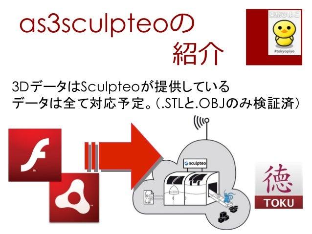 as3sculpteoの紹介3DデータはSculpteoが提供しているデータは全て対応予定。(.STLと.OBJのみ検証済)