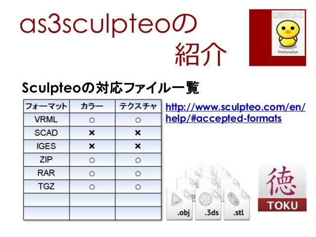 as3sculpteoの紹介Sculpteoの対応ファイル一覧http://www.sculpteo.com/en/help/#accepted-formats