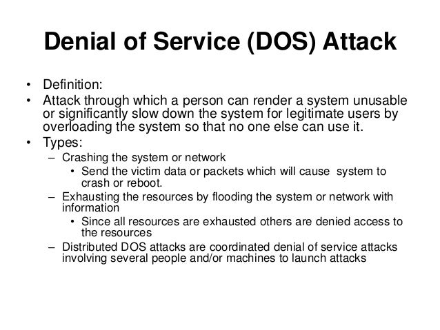 risks of a dos attack The continuing denial of service threat posed by dns recursion potential targets and risks a dns recursion attack is essentially an amplification dos attack.