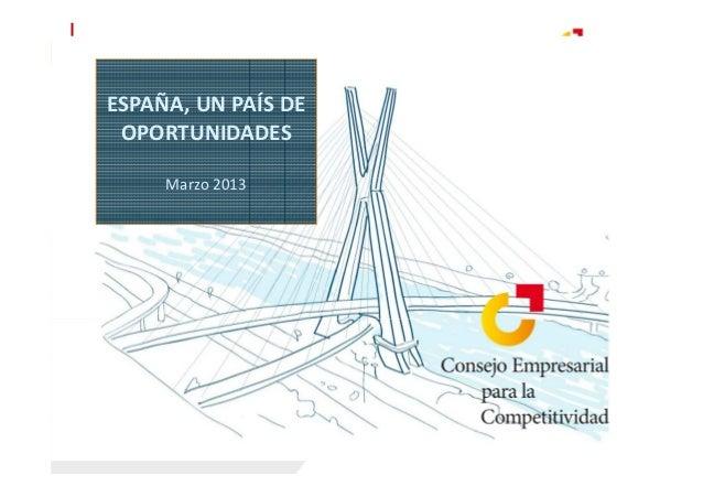 ESPAÑA, UN PAÍS DE OPORTUNIDADES     Marzo 2013