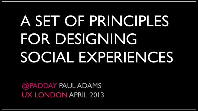 A SET OF PRINCIPLESFOR DESIGNINGSOCIAL EXPERIENCES@PADDAY PAUL ADAMSUX LONDON APRIL 2013