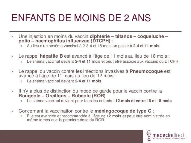 ENFANTS DE MOINS DE 2 ANS› Une injection en moins du vaccin diphtérie – tétanos – coqueluche –polio – haemophilus influenz...