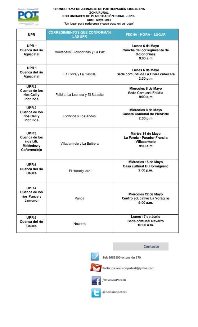 """CRONOGRAMA DE JORNADAS DE PARTICIPACIÓN CIUDADANAZONA RURALPOR UNIDADES DE PLANIFICACIÓN RURAL - UPR -Abril - Mayo 2013""""Un..."""
