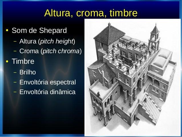 Altura, croma, timbre● Som de Shepard– Altura (pitch height)– Croma (pitch chroma)● Timbre– Brilho– Envoltória espectral– ...