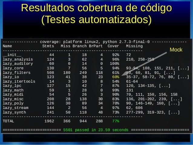 Resultados cobertura de código(Testes automatizados)--------------- coverage: platform linux2, python 2.7.3-final-0 ------...