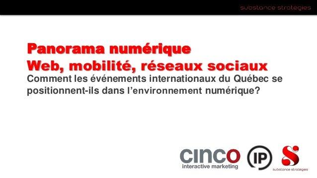 Panorama numériqueWeb, mobilité, réseaux sociauxComment les événements internationaux du Québec sepositionnent-ils dans l'...