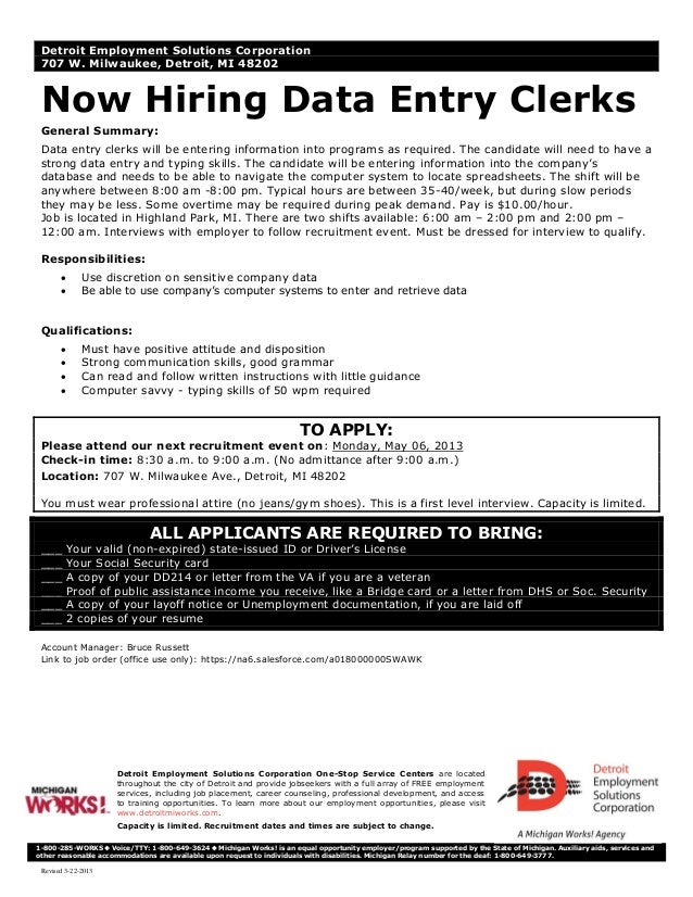 Revised 3-22-2013Detroit Employment Solutions Corporation One-Stop Service Centers are locatedthroughout the city of Detro...