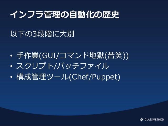 インフラ管理の自動化の歴史以下の3段階に大別• 手作業(GUI/コマンド地獄(苦笑))• スクリプト/バッチファイル• 構成管理ツール(Chef/Puppet)