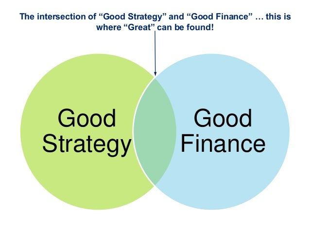 "GoodStrategyGoodFinanceThe intersection of ""Good Strategy"" and ""Good Finance"" … this iswhere ""Great"" can be found!"