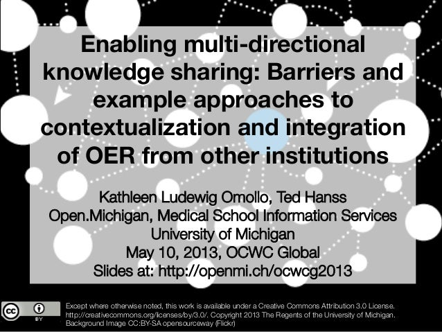 Enabling multi-directionalknowledge sharing: Barriers andexample approaches tocontextualization and integrationof OER from...