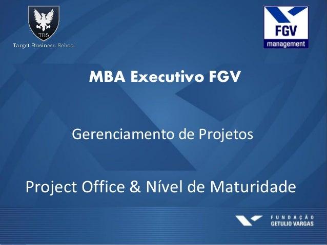 MBA Executivo FGVGerenciamento de ProjetosProject Office & Nível de Maturidade