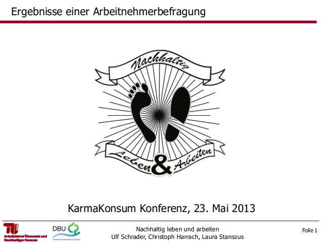 Folie 1Nachhaltig leben und arbeitenUlf Schrader, Christoph Harrach, Laura StanszusArbeitslehre/ Ökonomie undNachhaltiger ...