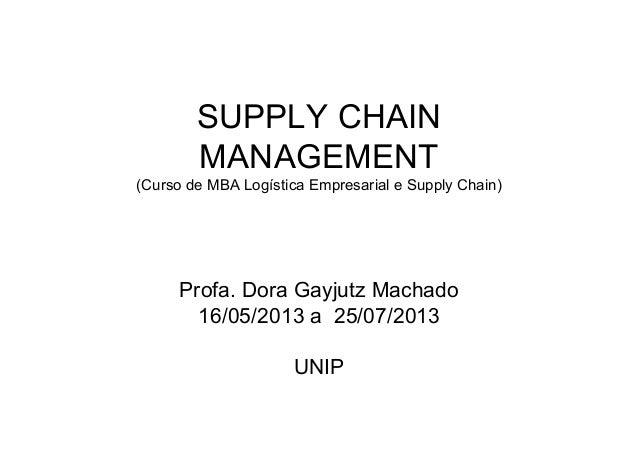 SUPPLY CHAINMANAGEMENT(Curso de MBA Logística Empresarial e Supply Chain)Profa. Dora Gayjutz Machado16/05/2013 a 25/07/201...