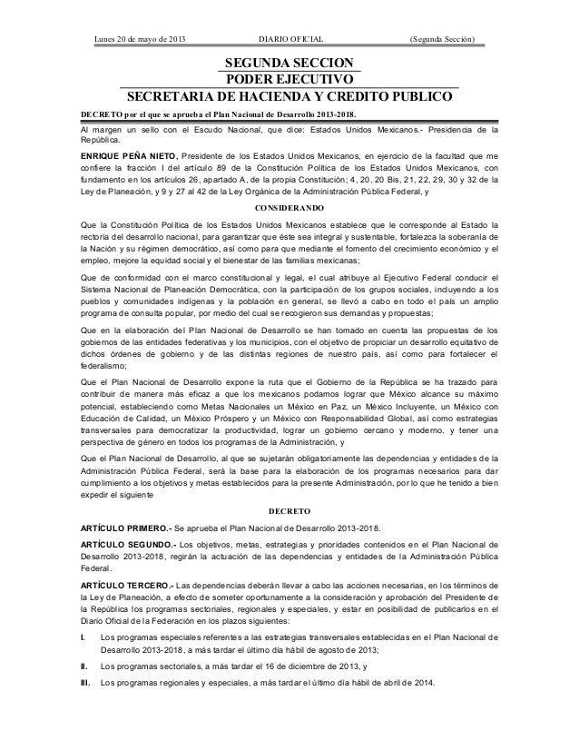 Lunes 20 de mayo de 2013 DIARIO OFICIAL (Segunda Sección)SEGUNDA SECCIONPODER EJECUTIVOSECRETARIA DE HACIENDA Y CREDITO PU...