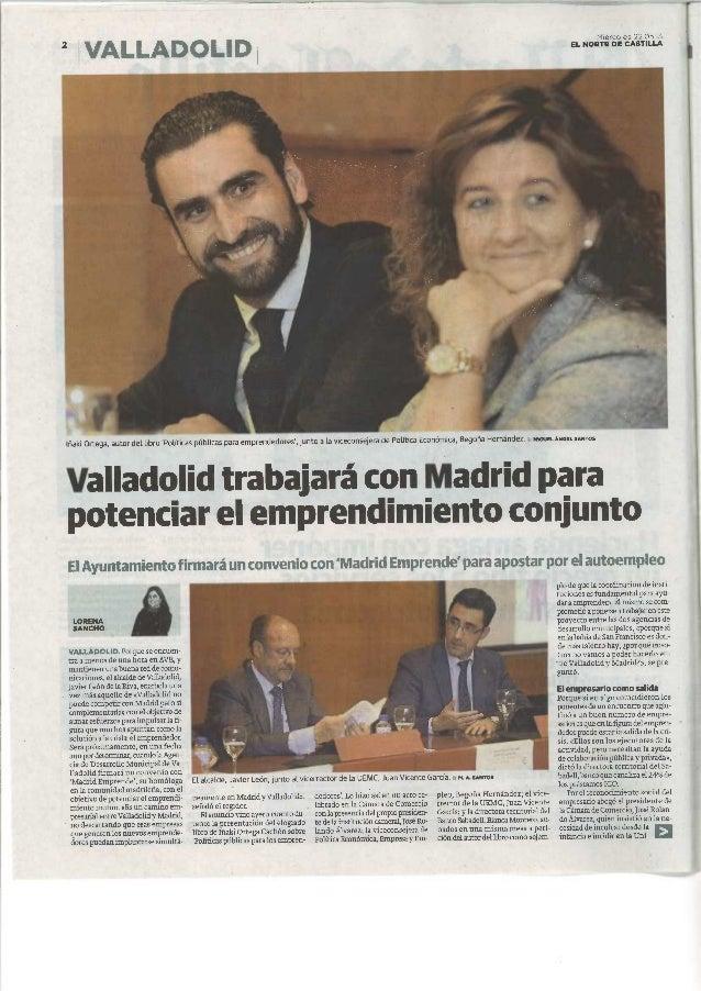 t 1 . • .Miércoles 22.05.13EL NORTE DE CASTILLAIfiaki Ortega, autor dellibroPOüticas publicas para emprendedores, junto a ...