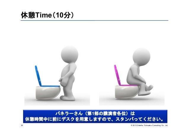© 2013 Deloitte Tohmatsu Consulting Co., Ltd.休憩Time(10分)20パネラーさん(第1部の講演者各位)は休憩時間中に前にデスクを用意しますので、スタンバってください。