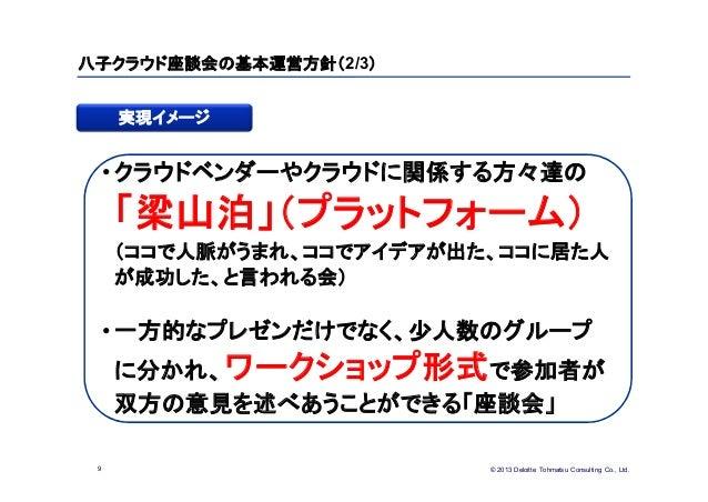 © 2013 Deloitte Tohmatsu Consulting Co., Ltd.八子クラウド座談会の基本運営方針(2/3)9実現イメージ•クラウドベンダーやクラウドに関係する方々達の「梁山泊」(プラットフォーム)(ココで人脈がうまれ、...
