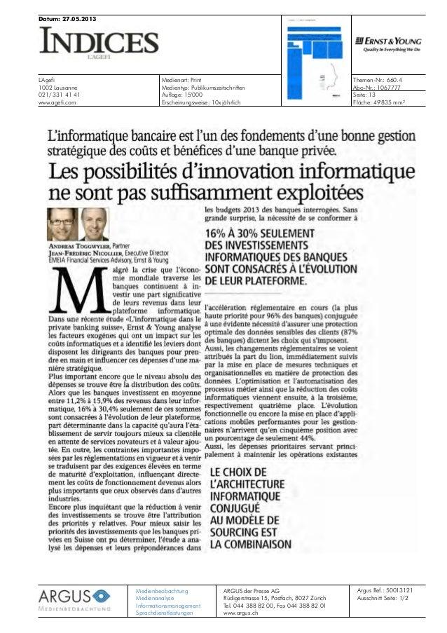 Datum: 27.05.2013 L'Agefi 1002 Lausanne 021/ 331 41 41 www.agefi.com Medienart: Print Abo-Nr.: 1067777 Themen-Nr.: 660.4 M...