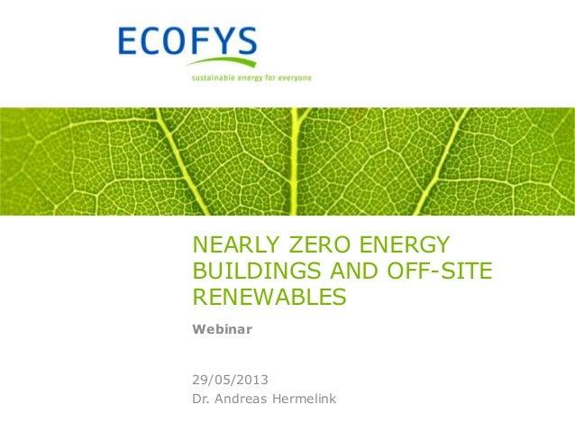 Dr. Andreas Hermelink29/05/2013NEARLY ZERO ENERGYBUILDINGS AND OFF-SITERENEWABLESWebinar